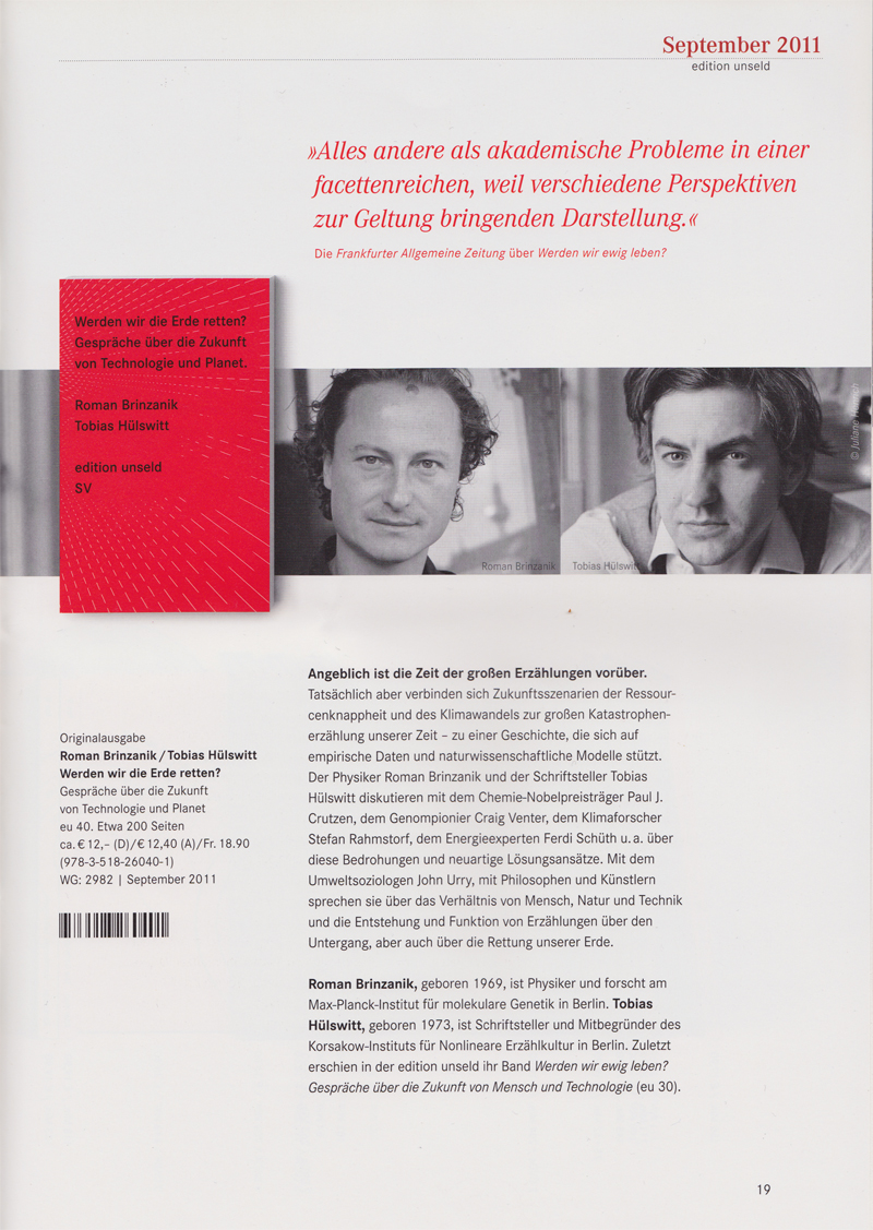 Verlagsvorschau Suhrkamp – Edition Unseld