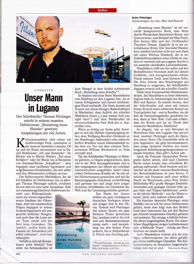 """Rezension zu Thomas Pletzingers Roman """"Bestattung eines Hundes"""" – Der Spiegel 15/2008"""